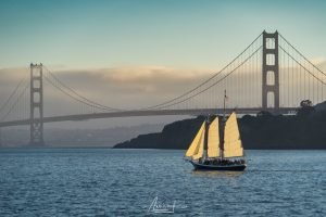 Boat and the Golden Gate Bridge